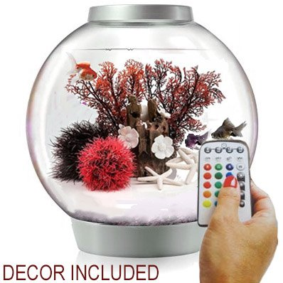 BiOrb Classic 15 Liter Silver Aquarium w/ MCR Lighting AND Red Forest Decor Set Bundle by biOrb
