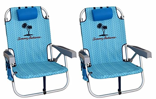 2-tommy-bahama-2016-backpack-cooler-chair-with-storage-pouch-and-towel-bar-blue-weave-blue-weave