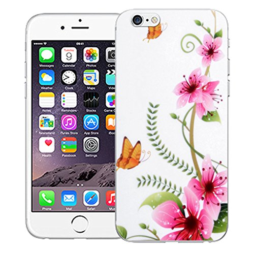 "Mobile Case Mate iPhone 6S 4.7"" Silicone Coque couverture case cover Pare-chocs + STYLET - Pink Butterfly pattern (SILICON)"
