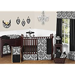 Sweet Jojo Designs Black and White Damask Isabella Baby Girls Bedding 11 piece Crib Set without bumper