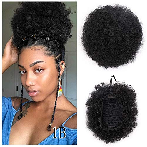 - PAPWOO Drawstring Ponytail Synthetic Curly Clip In Human Hair Extensions Natural Kinky Coily Chignon Hairpieces For Women African Americans Puff Ponytail Hair with Clips Blonde Black (1B)