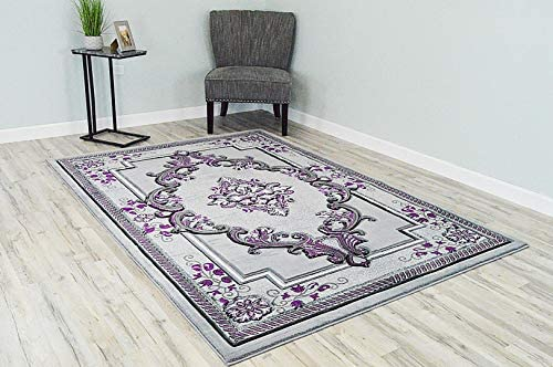 PlanetRugs Glamour 3D Hand Carved Traditional Design 206 Purple Grey Rug Oriental Floral Very Thick