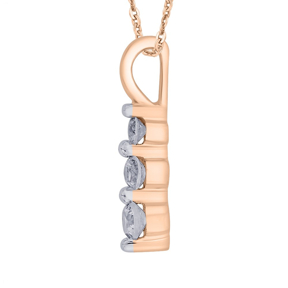 KATARINA Prong Set Three Stone Graduating Diamond Pendant Necklace in Gold or Silver 1//4 cttw, G-H, I2-I3