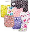 Baby Cloth Pocket Diapers 7 Pack, 7 Bamboo Inserts, 1 Wet Bag by Nora's Nursery