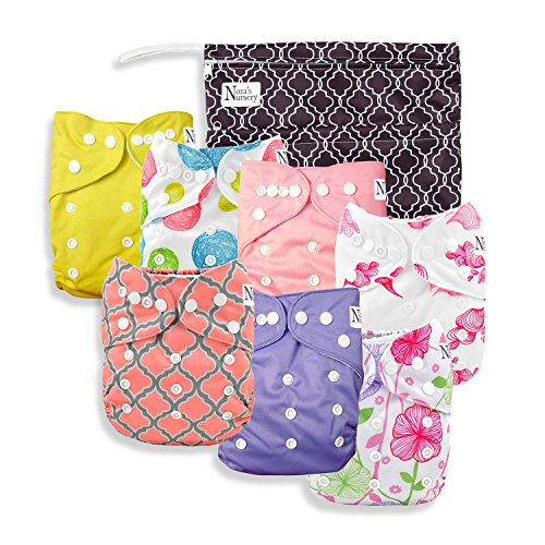 Bag Diaper Nursery - Baby Cloth Pocket Diapers 7 Pack, 7 Bamboo Inserts, 1 Wet Bag by Nora's Nursery