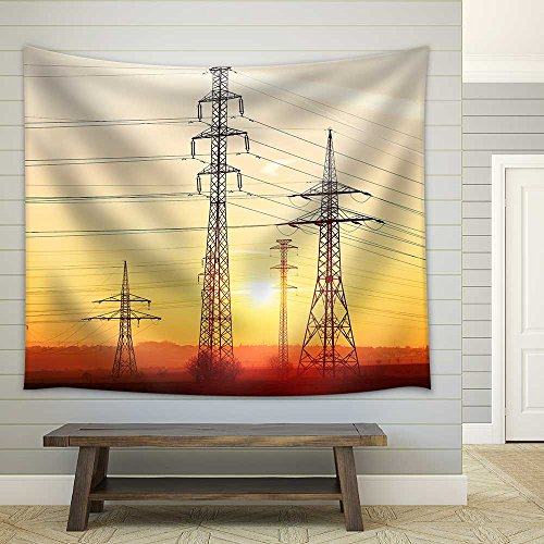 Silhouette Electricity Pylons During Sunset Czech Republic Fabric Wall