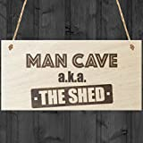 Red Ocean Man Cave AKA The Shed Novelty Wooden Hanging Plaque Funny Sign Gift by Red Ocean