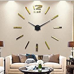 Goodfans Digital 3D DIY Wall Clock Modern Frameless Large Wall Clock Mirror Sticker for Home Office Decor (Gold)