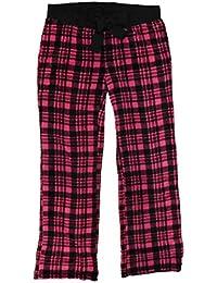 Womens Plush Pink Plaid Lounge & Sleep Pants Pajama Bottoms