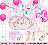 Unicorn Party Supplies Set with BONUS Glittery Unicorn Headband and 30 Balloons | 145 Piece Disposable Unicorn Themed Birthday Party Supplies and Decorations | Serves 16 Guests