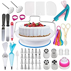 Cake Decorating Supplies Kit With Cake Turntable Stand- Extended 127pcs Baking Supplies Baking Set Includes: Rotating Turntable Stand, Frosting, Piping Bags, Icing Spatula and Smoother, Pastry Bay 65 ALL THE TOOLS PROFESSIONALS USE: Our cake decorating set is THE complete All-in-One package of professional style, reusable equipment - providing the ultimate platform to elevate your Cake-Craft & Icing Artistry to DREAM DESSERT stratosphere status! THE PERFECT STARTER KIT: As a cake decorating kit for kids or friends, or a gift for yourself, you'll all fall in love with this 103-Piece Decorating Set! Go crazy with swirls and curls with a professional, yet affordable Cake Decorating Kit For Beginners. Just imagine it, what cake wonders will you make first? EVERYTHING YOU NEED! Those familiar to the world of Cake and Confectionary Art also love this set.