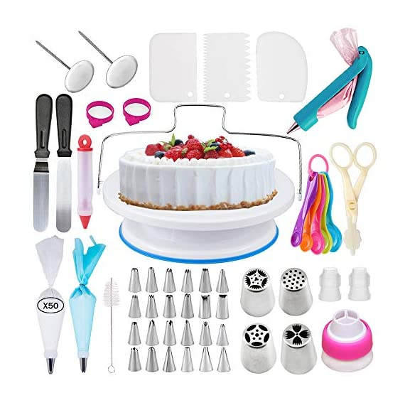 Cake Decorating Supplies Kit With Cake Turntable Stand- Extended 127pcs Baking Supplies Baking Set Includes: Rotating Turntable Stand, Frosting, Piping Bags, Icing Spatula and Smoother, Pastry Bay 1 ALL THE TOOLS PROFESSIONALS USE: Our cake decorating set is THE complete All-in-One package of professional style, reusable equipment - providing the ultimate platform to elevate your Cake-Craft & Icing Artistry to DREAM DESSERT stratosphere status! THE PERFECT STARTER KIT: As a cake decorating kit for kids or friends, or a gift for yourself, you'll all fall in love with this 103-Piece Decorating Set! Go crazy with swirls and curls with a professional, yet affordable Cake Decorating Kit For Beginners. Just imagine it, what cake wonders will you make first? EVERYTHING YOU NEED! Those familiar to the world of Cake and Confectionary Art also love this set.