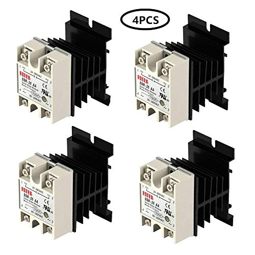 Kelife SSR-25 AA 25A 80-280V DC / 24-380V AC Solid State Relay and Heat Sink (Pack of 4)