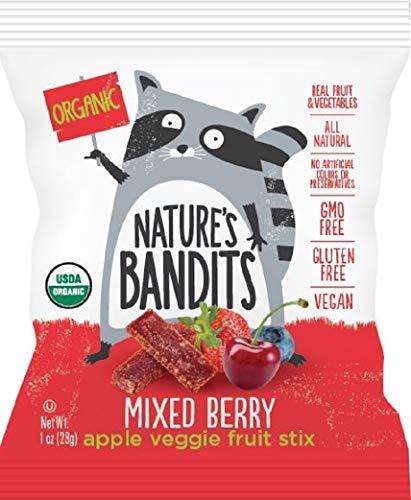 (Nature's Bandits Organic Fruit & Veggie Stix - Mixed Berry, 1 Box of 16 (1.0 Ounce) Bags - Gluten Free, Vegan, Kosher)