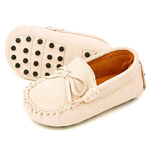 Augusta Baby Leather Loafers Boat Shoes Slip-on Moccasins with Gommino Sole - Safety Certified Genuine Leather - Almond Suede - US Toddler 5
