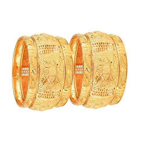 Zeneme Fashion Jewellery Traditional Gold Plated Original Gold Look Wedding Bracelet Bangle Set of 6 Bangles Jewellery for Girls & Women