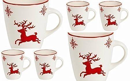 Christmas Dinnerware- Reindeer- Stoneware- Mug, Plate, Bowl (6x Mug ...