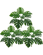 Toyvian 3pcs Artificial Tropical Palm Leaves Monstera Leaves with Stems Wedding Birthday Party Decorations Supplies