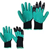 Garden Genie Gloves with Claws by SavvySi Perfect for Digging Planting Raking Gardening Right Left Hand Claw Fingertips Waterproof Durable Washable Quality Material Made to Last Tools -As Seen On TV!