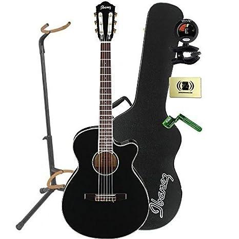 Ibanez aeg10niibk acústica guitarra eléctrica en madera de caoba acabado en negro, Mini con soporte, sintonizador, pegwinders, y paño de pulido: Amazon.es: ...