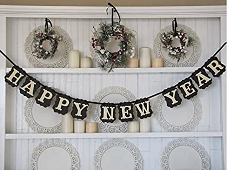 happy new year black and white banner for your new years eve nye party decorations