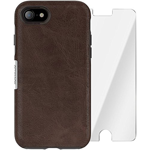 Limited Edition Glass - OtterBox Strada Series Limited Edition + Alpha Glass Case for iPhone 7 (ONLY) - Retail Packaging - Espresso (Dark Brown/Worn Brown Leather)