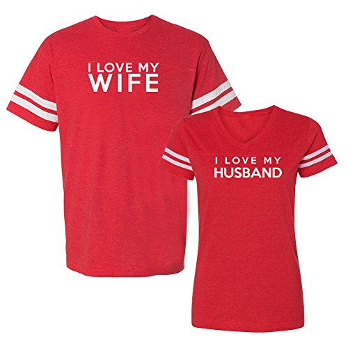 We Match! I Love My Wife I Love My Husband Matching Couples Football T-Shirt Set (Ladies Small, Mens Large, Red)