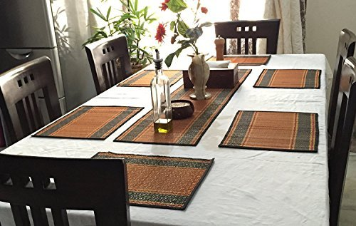 SouvNear Set Of 6 Placemats Table Runner   Table Mats Set Of 6   Reversible  Orange, Black Red   Natural Handmade Table Placemat   Kitchen Accessories