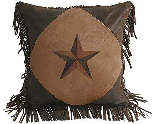 HiEnd Accents Laredo Western Star Faux Suede Throw Pillow w Fringe, 18 x 18 , Dark Tan