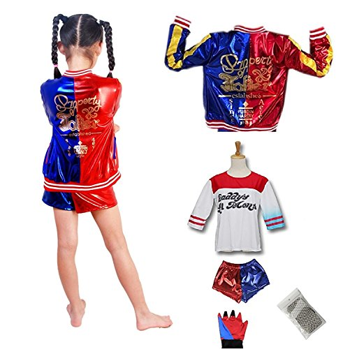 J-J DECO 5PCS Kids Girls Halloween Costume (Jacket + T- Shirt + Square Shorts+ 1Glove+Fishnets (M=120cm(6-8years))]()