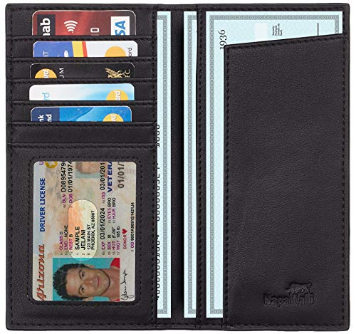 - Toughergun Genuine Leather Checkbook Cover For Men & Women Card Holder Wallet RFID Blocking (With Check Divider Access Black)