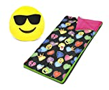 Emoji Pals Sleeping Bag Set, Black, 54''X30''