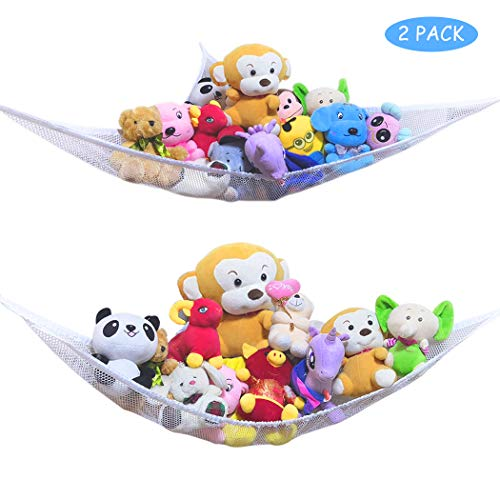 HEA GH Toy Hammock -2PACK- Organize Stuffed Animals or Children's Toys with Mesh Hammock- Toy Storage Organizer for Stuffed Animals (White)