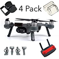 DJI Spark Accessories Bundle Set Combo Lens Cap Hood Sun Shade Camera Cover Protector Landing Gear Guard Protective Bubble Remote Controller Clip Accessory By FSLabs (4 pack)