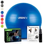 URBNFit Exercise Ball (Multiple Sizes) for Fitness, Stability, Balance & Yoga – Workout Guide & Quick Pump Included – Anit Burst Professional Quality Design (Blue, 45CM) For Sale