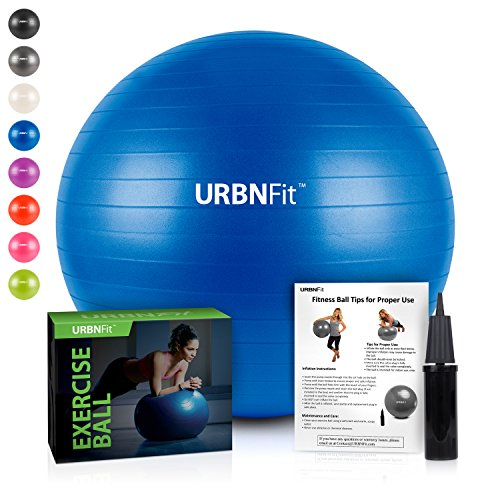 URBNFit Exercise Ball (Multiple Sizes) for Fitness, Stability, Balance & Yoga – Workout Guide & Quick Pump Included – Anit Burst Professional Quality Design (Blue, 45CM)