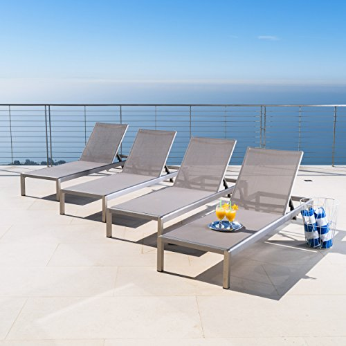 Christopher Knight Home 300495 Crested Bay Outdoor Aluminum Chaise Lounge Chair | Set of 4 | in Grey (Chaise Lounger Outdoor)