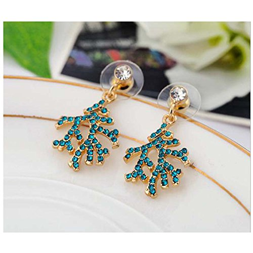 [Elakaka Women's Alloy Drill Christmas Tree Temale Models Earrings(Blue)] (Primark Halloween Costumes Uk)