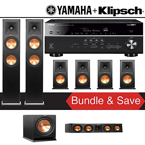 Klipsch RP-260F 7.1-Ch Reference Premiere Home Theater Speaker System with Yamaha RX-V685BL 7.2-Channel 4K Network A/V Receiver