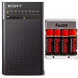 Sony Portable AM/FM Transistor Radio with Built-in Speaker, Headphone Jack + AA Batteries