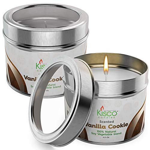 KISCO CANDLES Luxury Lightly Scented Candles, 2 Pack - 100% Natural Soy Wax - Beautiful Gift Set Tins - Soothing, Relaxing Vanilla Cookie Fragrance - Aromatherapy, Decoration, Parties - 4.5oz