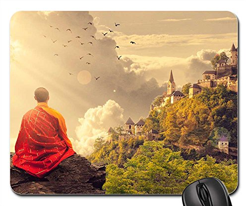 Mouse Pads - Meditation Buddhism Monk Temple Panorama Buddhist (Monk Mouse Pad)