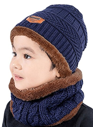 T-wilker 2 Pcs Kids Winter Knitted Hats + Scarf Set Soft Stretch Cable Warm Fleece lining Cap for 5-14 Year Old Boys Girls (Navy Blue)