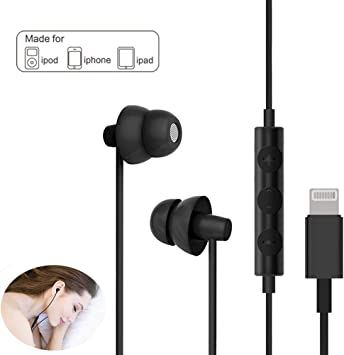 Amazon Com Lighting Headphones Maxrock Sleep Earbuds With Lightning Connector Sleep Headphone Earphones For Iphone X Xs Xs Max Xr Iphone 8 Iphone 7 7 Plus Apple Ios With Microphone And Volume Remote Black Home Audio Theater