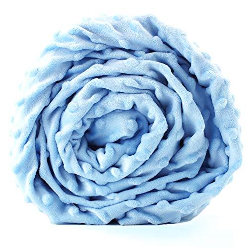 Embossed Blue Dots - Hooshing Duvet Cover for Weighted Blanket 60''x80'' Soft Minky Dot Removable Duvet Cover, Light Blue