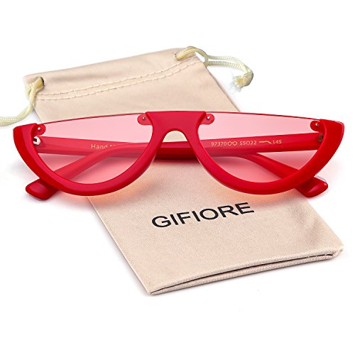 Clout Goggles Cat Eye Sunglasses Vintage Mod Style Retro Kurt Cobain Sunglasses (Red/Orange, ()