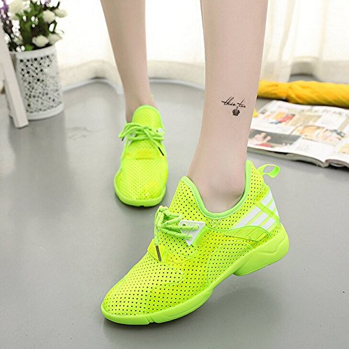 Angelliu Women Girls Casual Breathable Summer Spring Holes Running Sports Shoes Trainers Fluorescent Green 0IZVqv