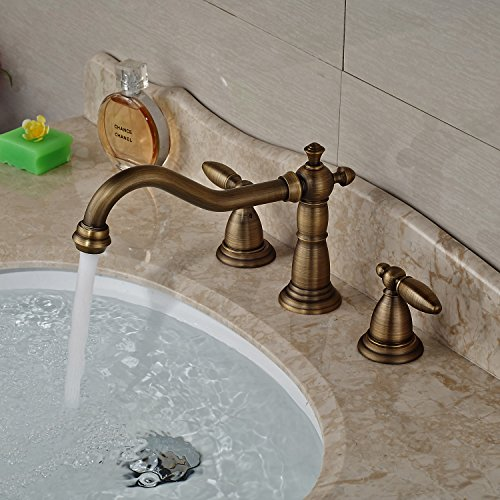Rozin® Widespread 3 Holes Basin Faucet Dual Handle Sink Mixer Tap Antique Brass