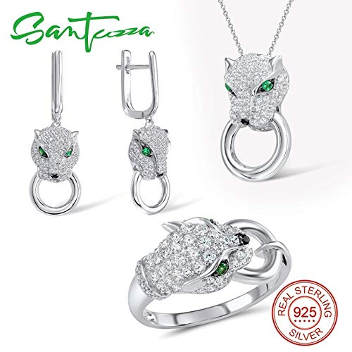 (Loune Week Panther Sets for Women Unique Ring Earrings Pendant Set White 925 Sterling Silver Set)