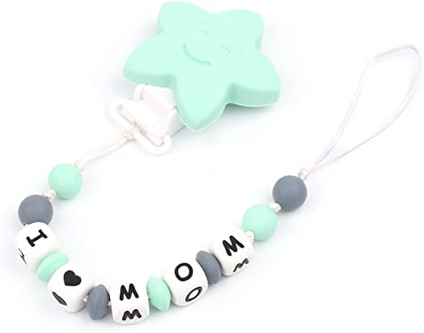 Silicone Custom Soother Chain,Unisex Star Dummy Clip Teether Pacifier Clip for Boys and Girls I Love MOM Personalized Baby Pacifier Chains